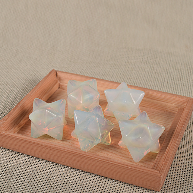 Natural Gemstone Rock Quartz Crystal Merkaba Star Stone