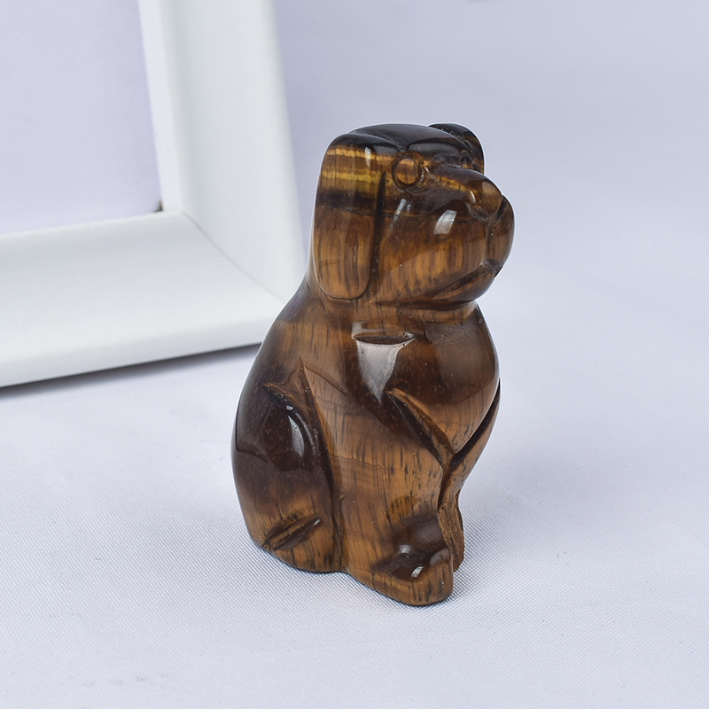 2 inch Hand Carved Natural Tiger Eye Crystal Mini Dog Figurines