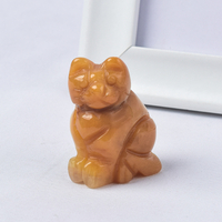 Hand Carved Natural Yellow Jade Crystal Small Cat Figurines Gemstone Craft