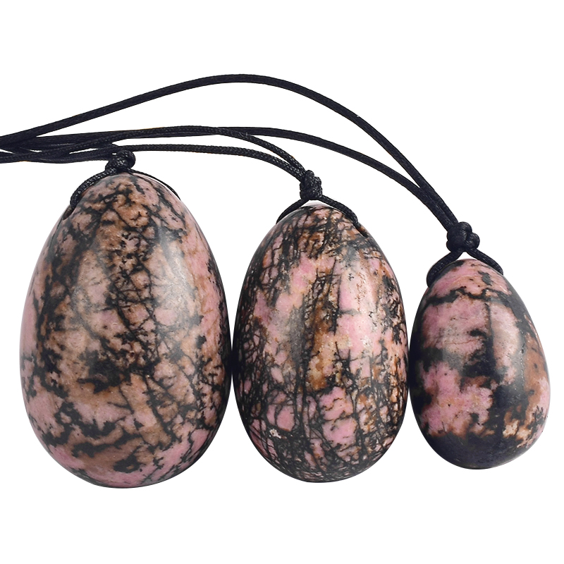 Rhodonite Jade Yoni Eggs Massage Kegel Eggs 3PCS Natural Rhodonite Stone Beads Chakra Healing Yoga Exercise Jade Eggs To Train Pelvic Muscles