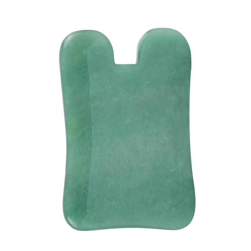 N-Shaped Green Aventurine Gua Sha Scraping Massage Tool, Natural Jade Guasha Board for SPA Acupuncture Treatment, Reducing Neck and Muscle Pain