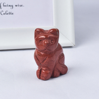 Hand Carved Natural Red Jasper Stone Crystal Small Cat Figurines Gemstone Craft