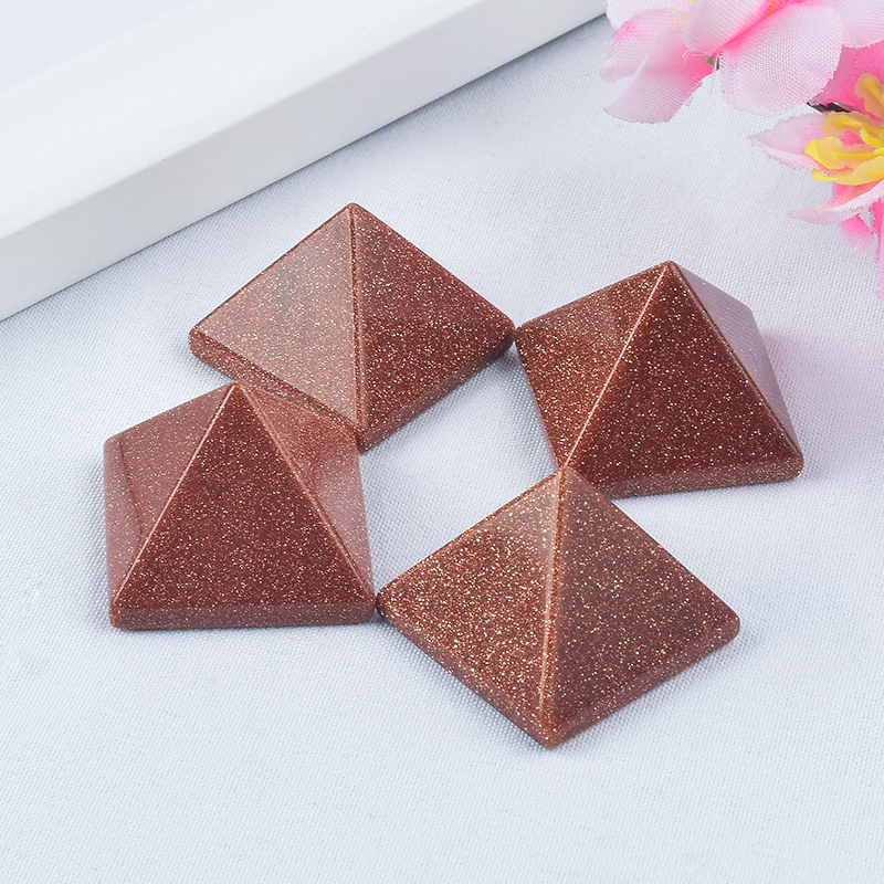 Craved Natural Gold Sandstone Pyramid Pyramids