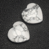 20mm 30mm 35mm White Howlite Stone Heart Shape Gemstone Beads Natural Crystal Hearts