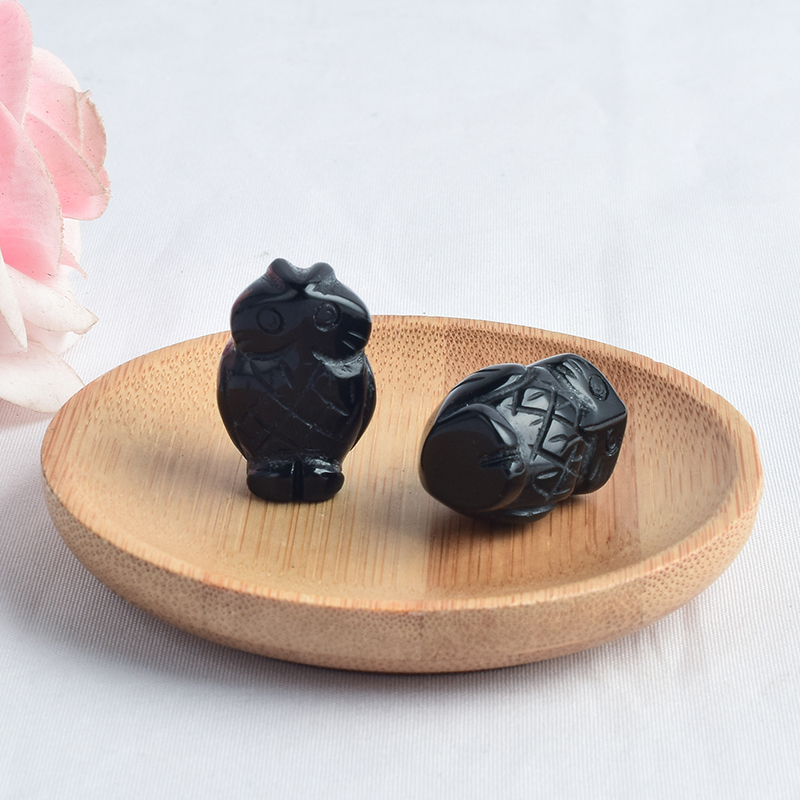 1 inch Hand Carved Natural Black Obsidian Stone Mini owl figurines Figurines