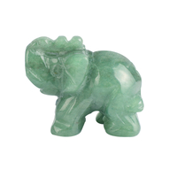 1.5 Inch Hand Carved Green Aventurine Stone Elephant Crystal Animal Figurines