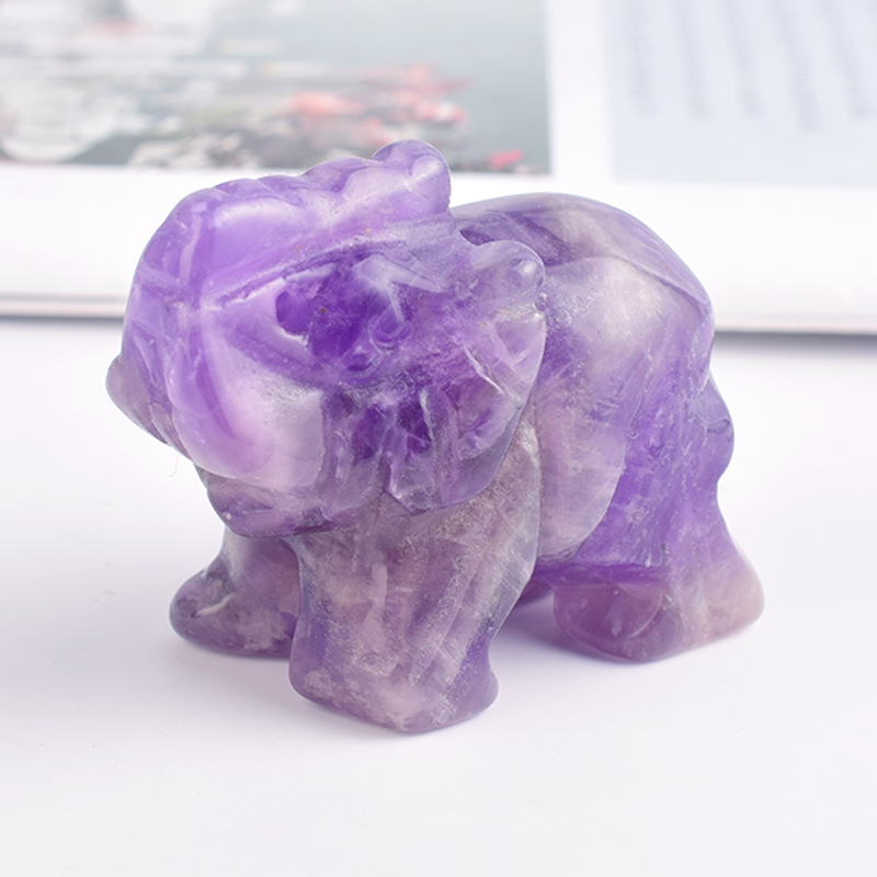 1.5 Inch Hand Carved Amethyst Stone Elephant Crystal Animal Figurines