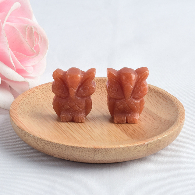 1 inch Hand Carved Natural Gold Sandstone Stone Mini owl figurines Figurines