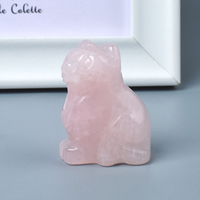 Hand Carved Natural Rose Quartz Crystal Small Cat Figurines Gemstone Craft
