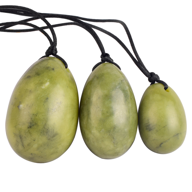 Green Jade Yoni Eggs Massage Stones 3pcs Natural Drilled Green Jade Eggs to Train Pelvic Muscles Kegel Exercise
