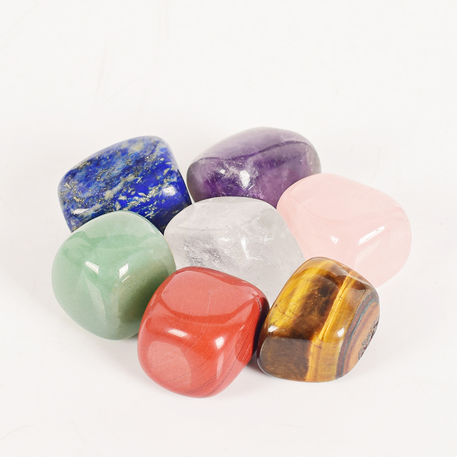 100% Natural Jade Gemstone 7 Colors Tumbled Chakra Stones Set