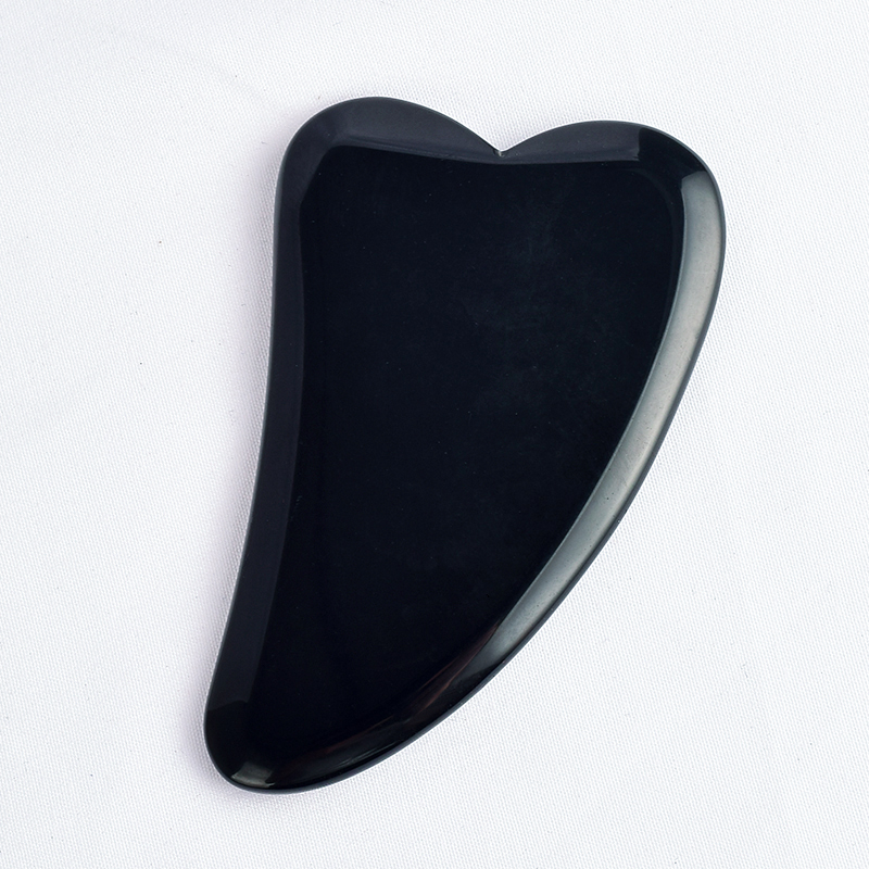 V- Shaped Natural Black Obsidian Stone Scraping Board Massager,Anti Aging Gua Sha Board Massage,for Facial Body SPA Skin Detox Foot Treatments