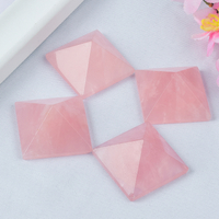 Craved Natura Rose Quartz Stone Pyramids