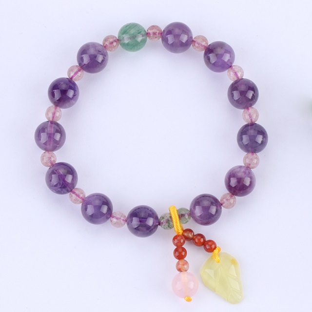 Natural Amethyst with Strawberry Crystal Hand String
