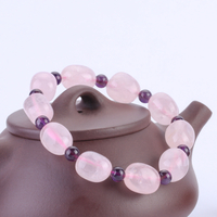 Natural Rose Crystal with Amethyst Bracelet